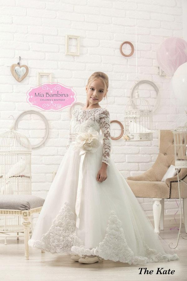 Nozze - Flower Girl Dress Long sleeve First Communion Dress Wedding Dress Lace Girls Dresses