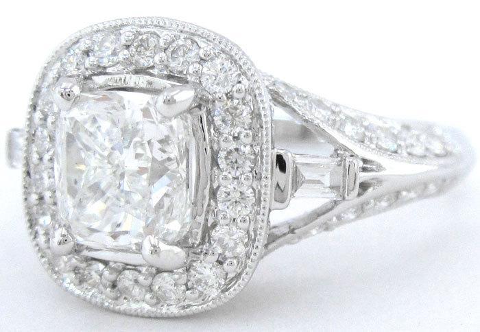 Mariage - Cushion cut diamond engagement ring antique 2.06ctw