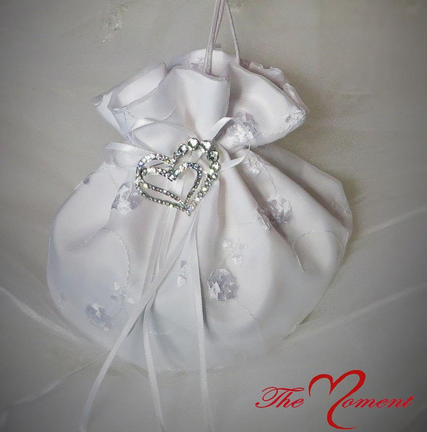 Dollar Dance Bag Bridal Purse Money Wedding White Satin Ivory