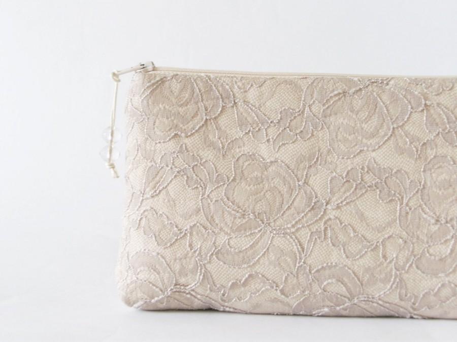 Hochzeit - Elegant Nude Lace Clutch, Trendy Clutch for Bride, Bridesmaid Gift Bag, Tan Lace Bachelorette Party Gift