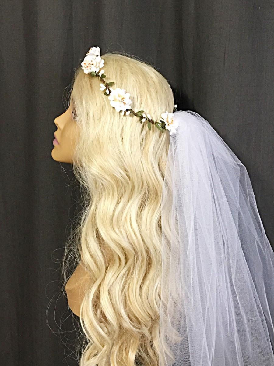 Bohemian Flower Crown Veil Boho Flower Headband Bridal Crown