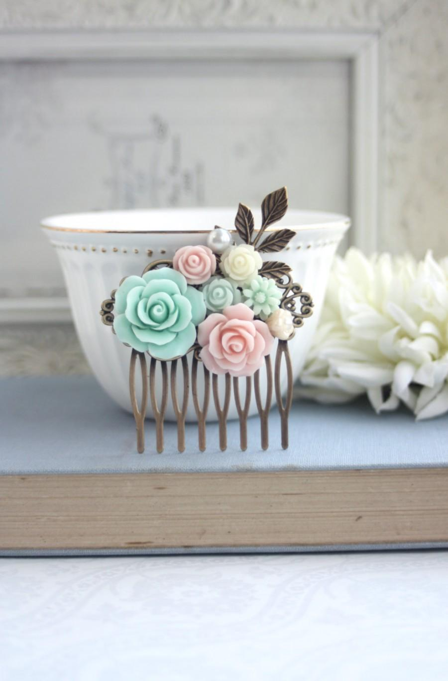 Wedding - Pink and Mint Floral Collage Comb, Romantic Bridal Hair Comb, Rustic Wedding Rose Comb, Pearl Leaf Hair Accessories, Pink Bridesmaids Gifts