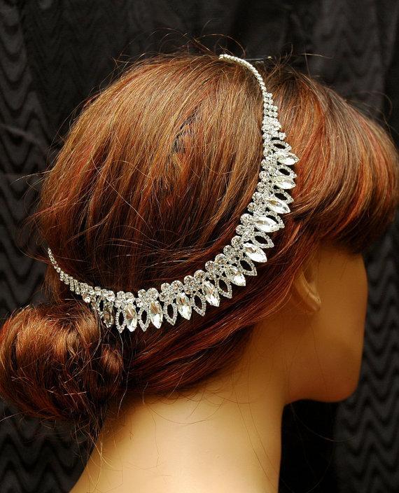 Wedding - Wedding Headband, Crystal Bridal Headpiece, Chain Headpiece, Wedding Hair Piece, Wedding Accessories, Forehead Chain Headpiece