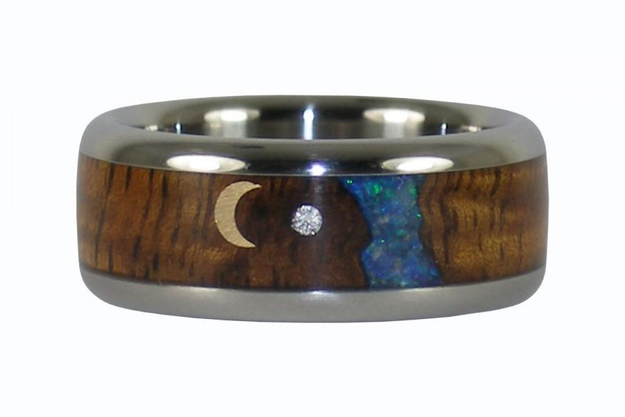 Mariage - Koa Opal Diamond and Gold Moon Wedding Band