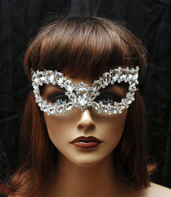 Mariage - Crystal Costume Mask, Bridal Mask, Wedding Mask, Masquerade Mask, Wedding Accessories, Costume Accessories