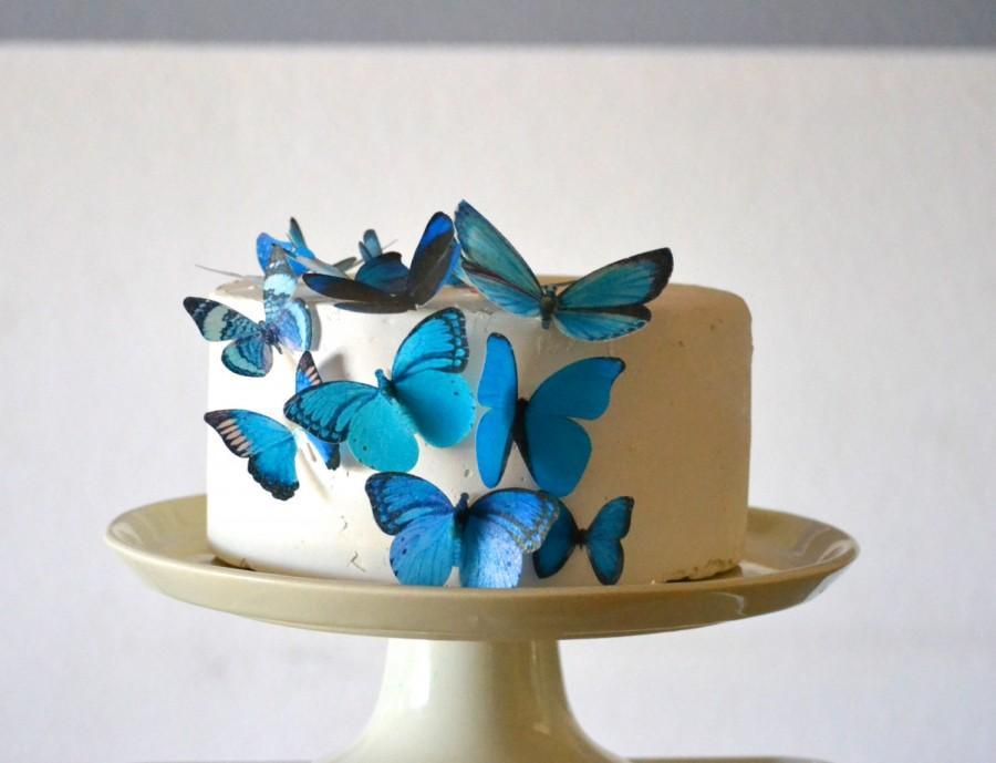 Wedding Cake Topper Edible Butterflies Assorted Blue- Set