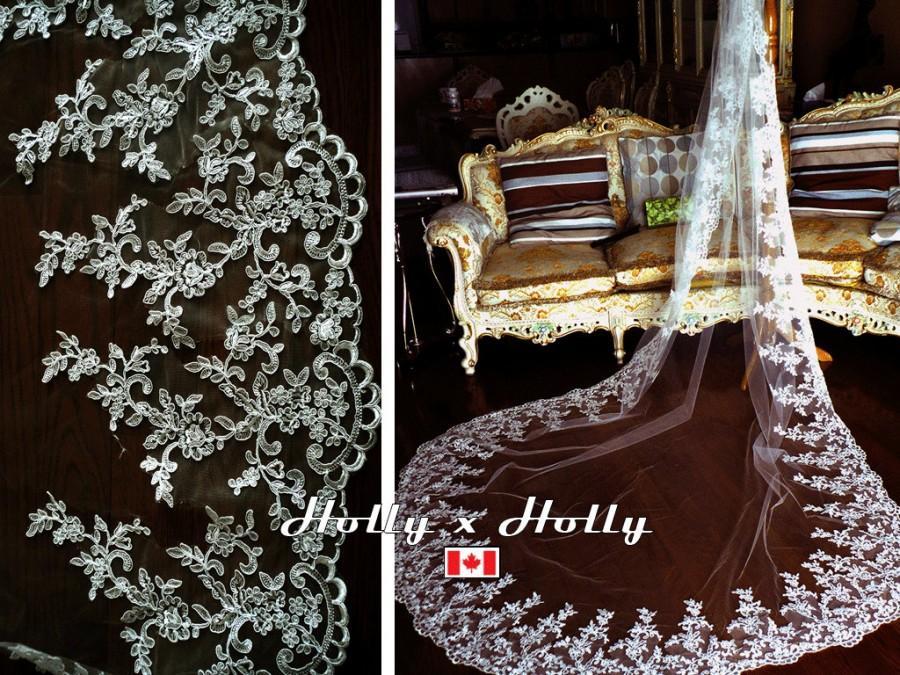 Mariage - Bridal veil, wedding veil, ivory wedding veil, lace veil, long veil
