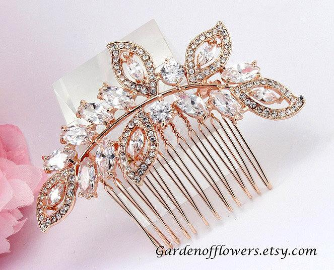 Rose Gold Bridal Hair Piece Bridal Rhinestone Comb Swarovski Pearl