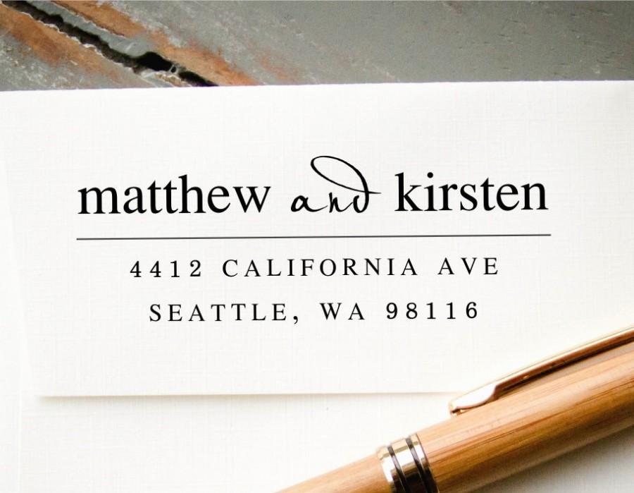 Mariage - Self-Inking Address Stamp, Custom Return Address Stamp, Custom Rubber Stamp, Engagement Gift, Housewarming Gift, Personalized Stamp