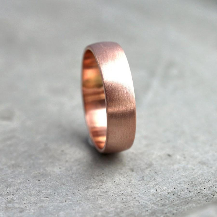 Mariage - Wide Rose Gold Men's Wedding Band, Recycled 14k Rose Gold 6mm Brushed Low Dome Man's Gold Wedding Ring -  Made in Your Size