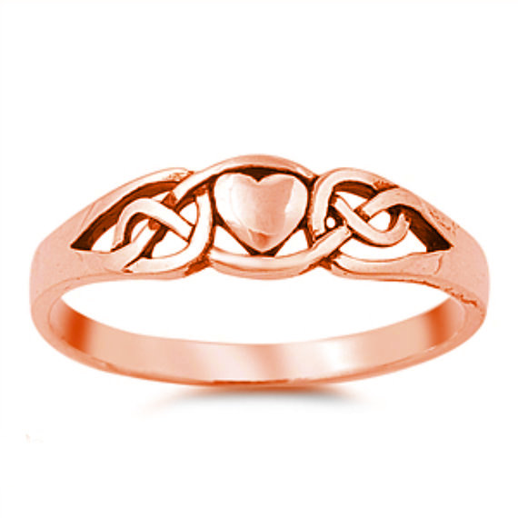 Wedding - Celtic Knot Rose Gold Heart Ring Solid 925 Sterling Simple Plain Celtic Heart Ring Promise Ring Valentines Girlfriend Wife Love Ring