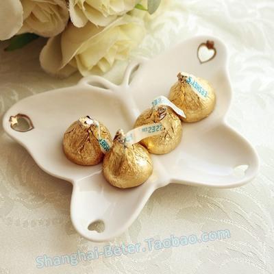 Wedding - 爆款创意礼物TC017结婚婚礼来宾接待小礼物 陶瓷烫金蝴蝶喜糖盘