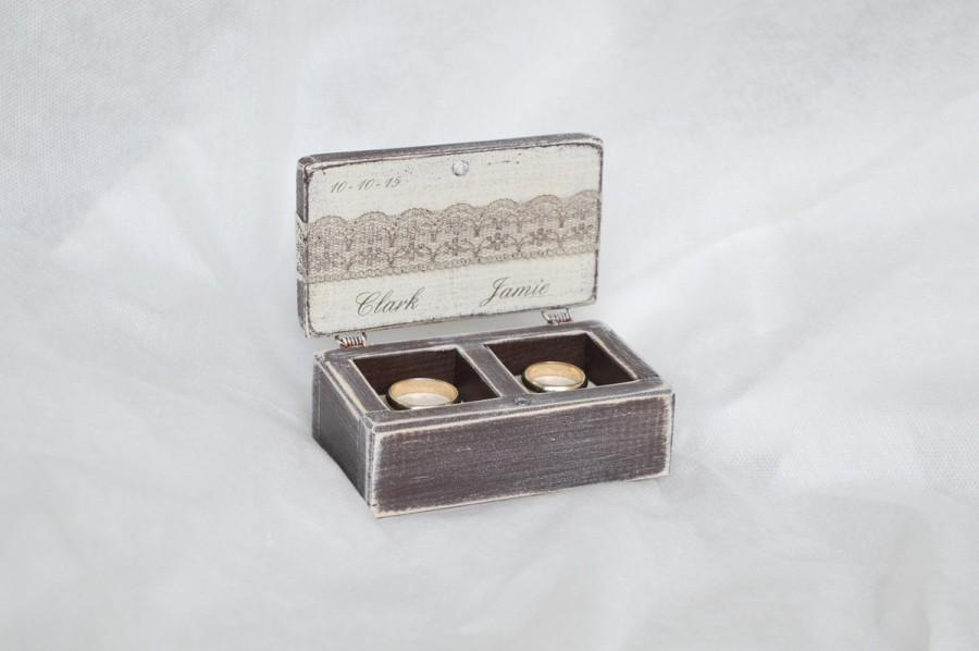 Ring box rustic wedding ring box ring bearer box double for Cute engagement ring boxes