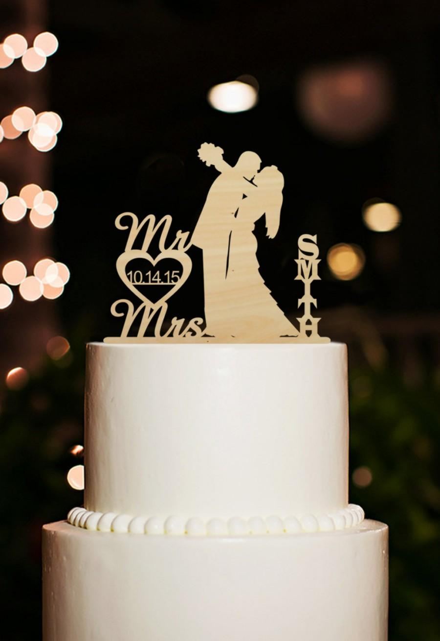 Mr And Mrs Wedding Cake Topper Silhouette Bride And Groom Kiss Cake Topper Custom Last Name Cake