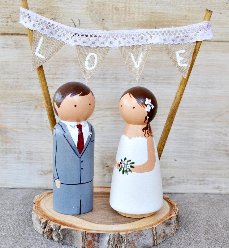 Wooden Peg Cake Topper Rustic Wedding TopperCustom TopperPersonalized Bride And Groom Wood Slice Boho