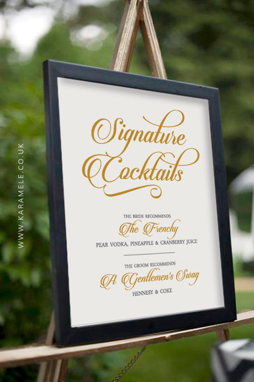 Mariage - GOLD Custom Printable Signature Cocktail Wedding Sign - Wedding Reception Sign