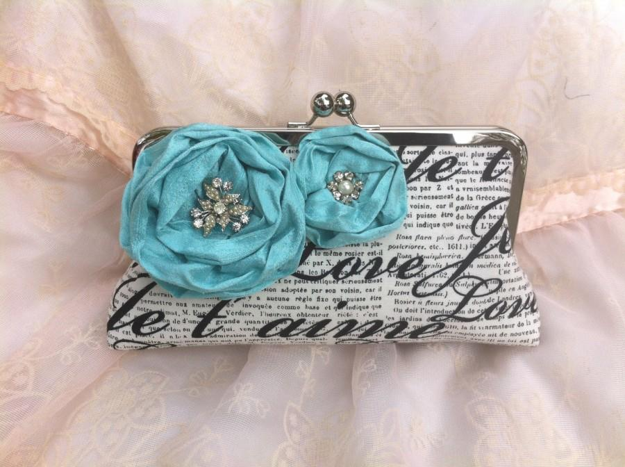 Mariage - THE FRENCH CLUTCH Bridal Clutch Wedding with handle  Something Blue Je t'aime photo lining  blue