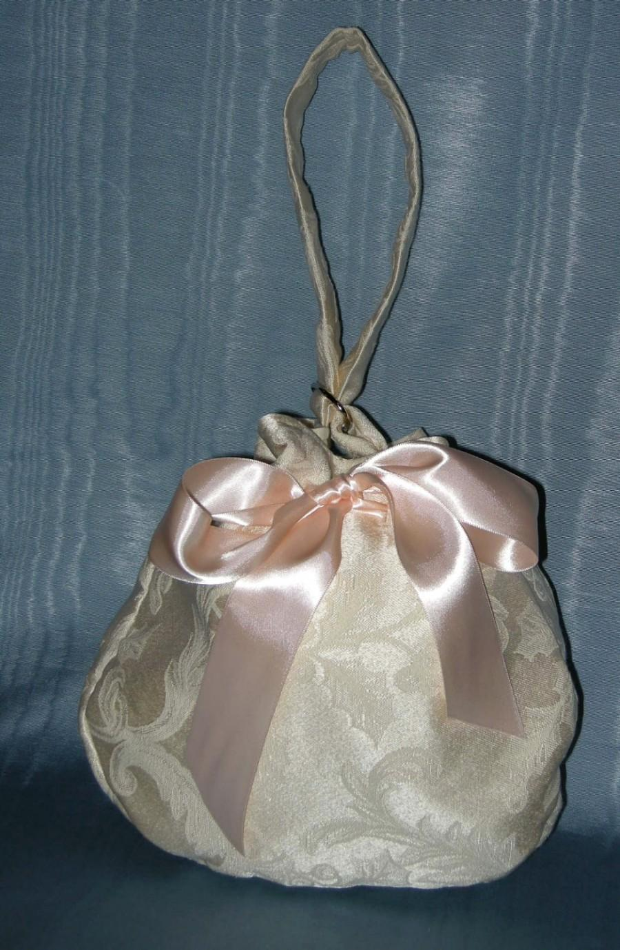زفاف - Wedding Dollar Dance Bag Purse Ivory Satin Brocade with Satin Ribbon Drawstring and Wrist Strap, Lined with Moire Polished Cotton