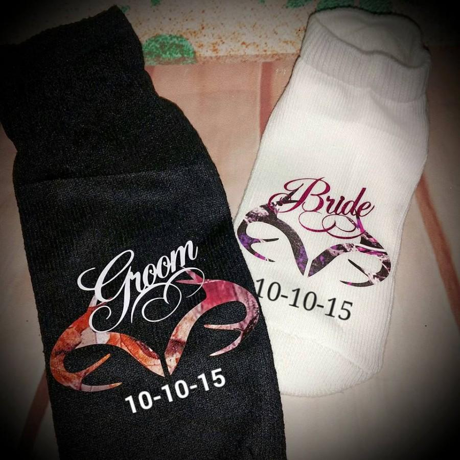 Camo Matching Bride And Groom Socks!! Personalized With Wedding ...