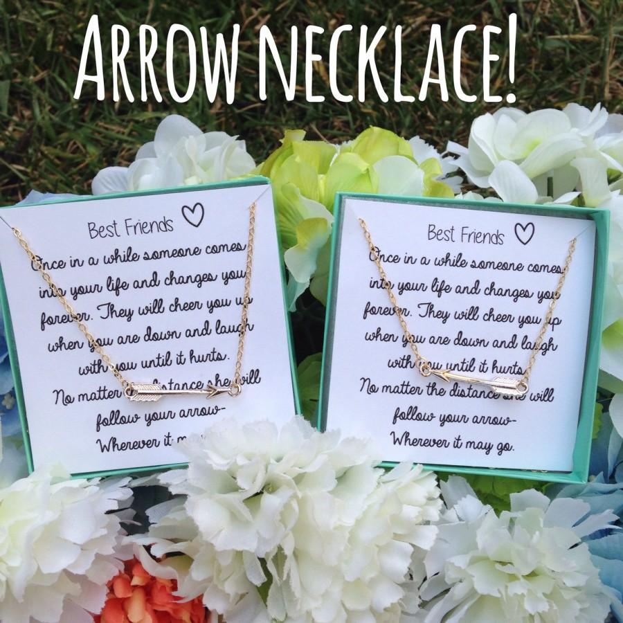 Mariage - BACK IN STOCK! Best friend gift! Gold arrow necklace and poem!