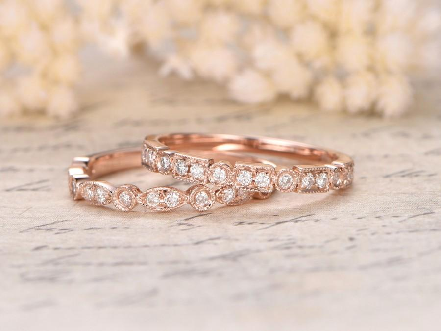 Mariage - 2 Art Deco Antique Diamond Wedding Rings Set,14K Rose Gold,Anniversary Band,Half Eternity Rings,Marquise&Dot Ring,Bezel,Stackable Ring