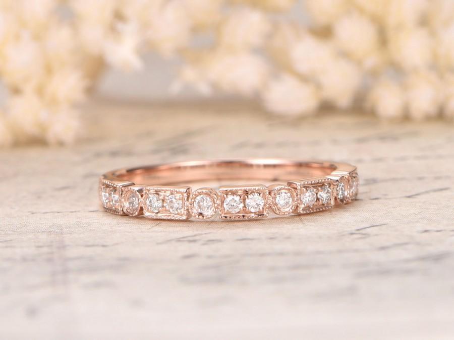 Art Deco Antique Diamond Wedding Ring 14k Rose Gold Anniversary