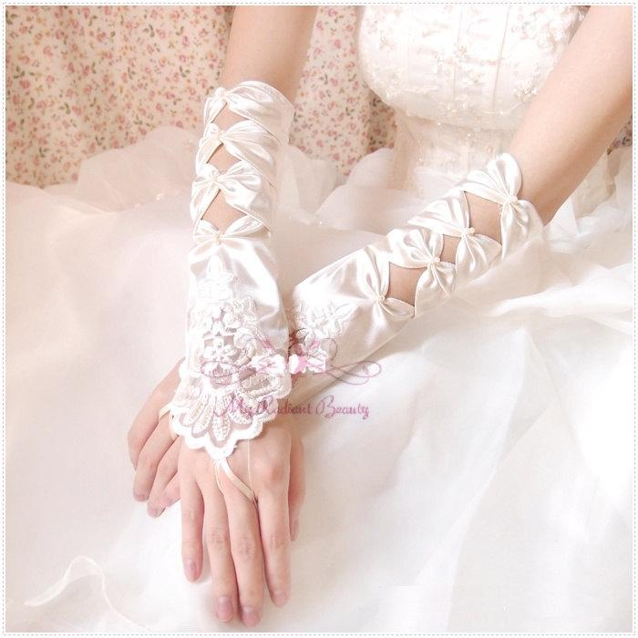 Mariage - Bridal Gloves, Square Embroidered Satin Cutout Fingerless Gloves, Wedding Gloves, Wedding Accessory BG0009