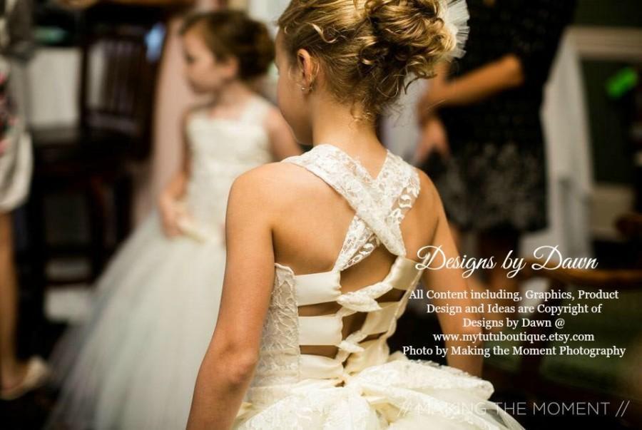 Wedding - Flower Girl Dress. Ivory Dress. Lace overlay. Corset top, TUTU Skirt, Detachable Train & Hair Piece! Size 6m-10 Girls.