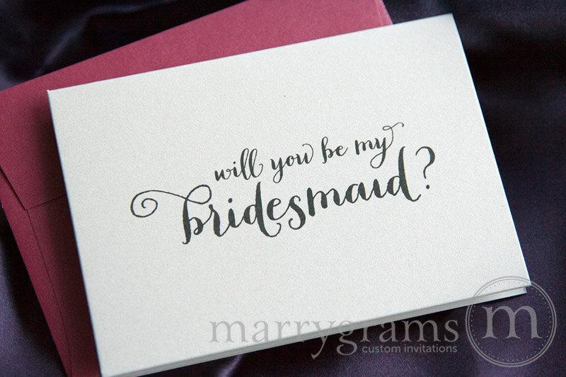 زفاف - Will You Be My Bridesmaid, Maid of Honor, Wedding party Bridal Party Cards Invitation Card, Maid of Honor Card, Flower Girl (Set of 4) CS02