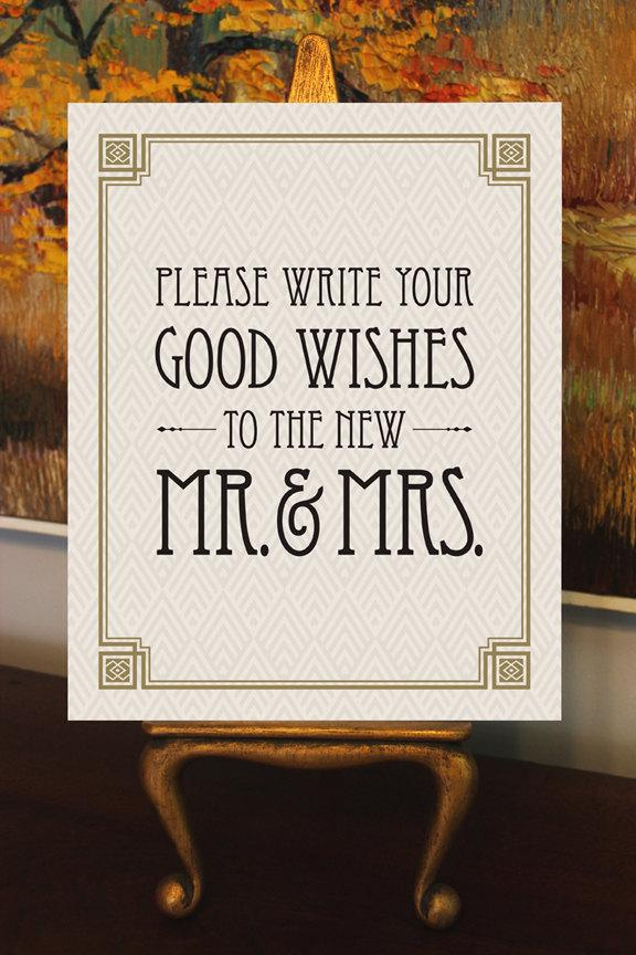 "Mariage - Please Write Your Good Wishes - Printable Wedding Guest Book Sign - 8"" x 10"" - Digital File - DIY - Art Deco-Roaring 20's-Great Gatsby Sign"