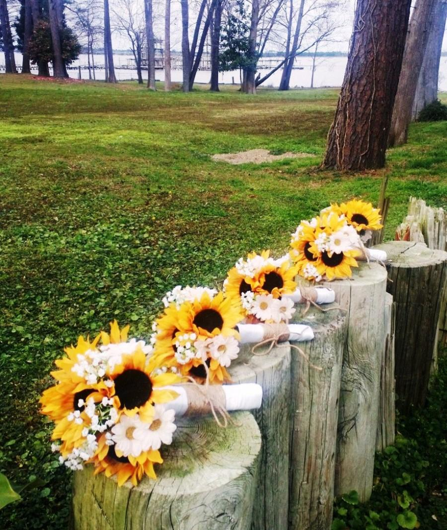 17 Piece Sunflower Wedding Bouquet Set Daisy Sunflower Bridal