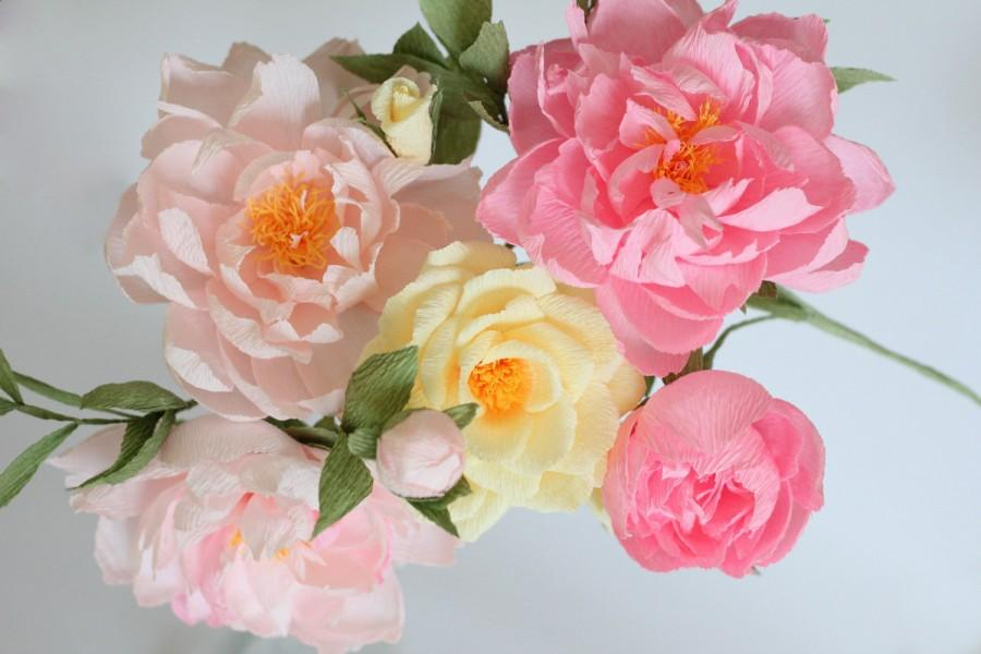 Wedding Peonies Paper Roses Paper Flowers Paper Flower Bouquet
