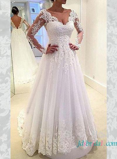 Mariage - H1626 Elegant v shaped open back lace a line wedding dress