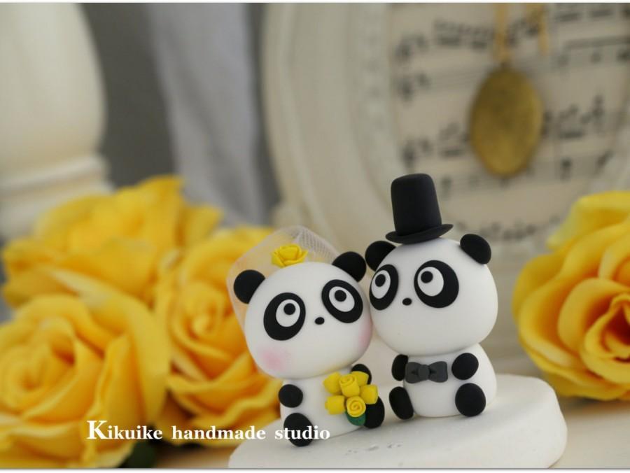 Mariage - Panda Wedding Cake Topper---k955