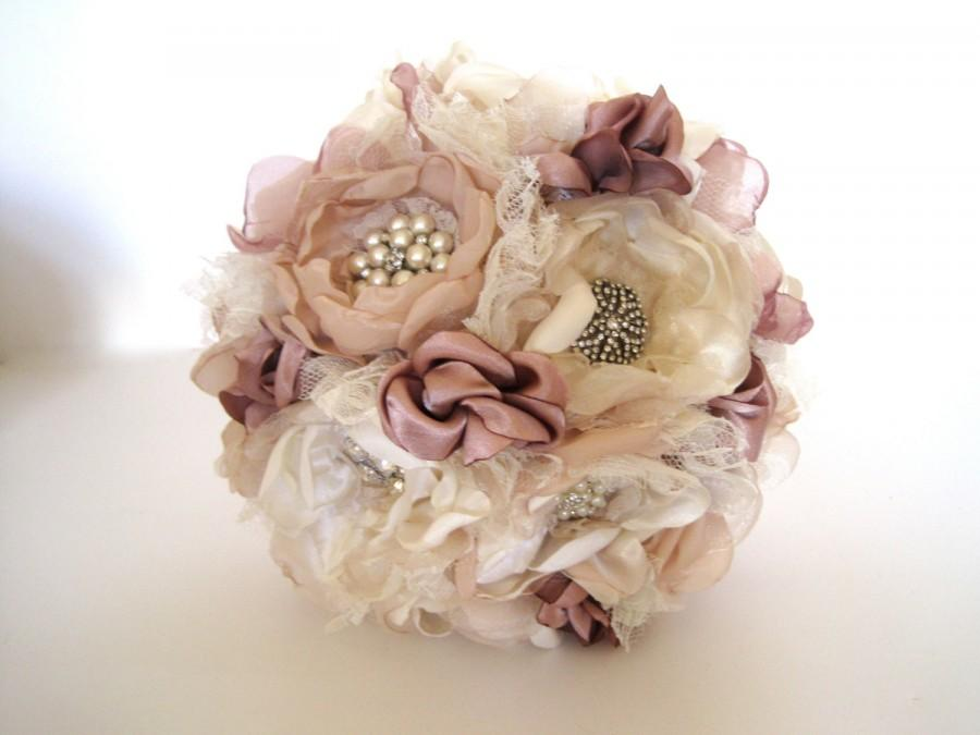 Mariage - Wedding Bouquet Vintage Inspired Fabric Brooch Bouquet in Ivory Champagne and Dusty Rose with Pearls Rhinestones and Lace Custom Made