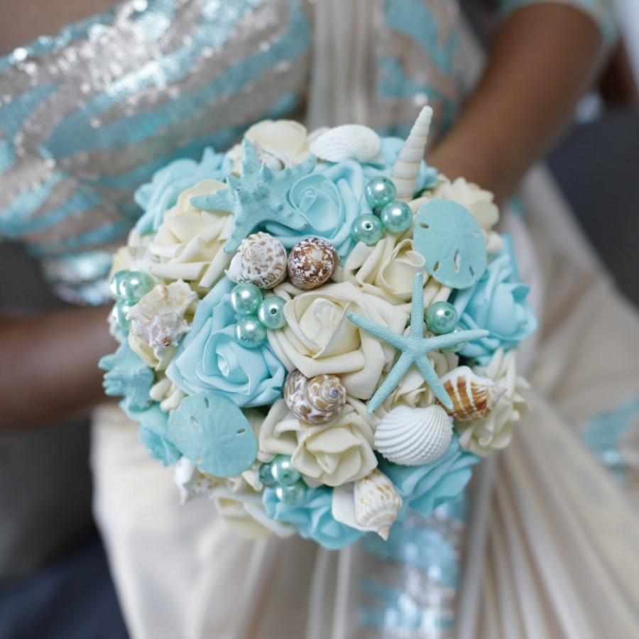 Mariage - Seashell Bouquet, for bride or Bridesmaids, Beach wedding bouquet