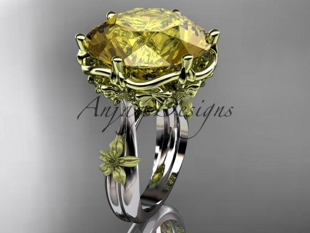 """Mariage - 14kt  2 - tone gold  floral, leaf and vine """"Basket of Love"""" ring  ADLR176 nature inspired jewelry"""