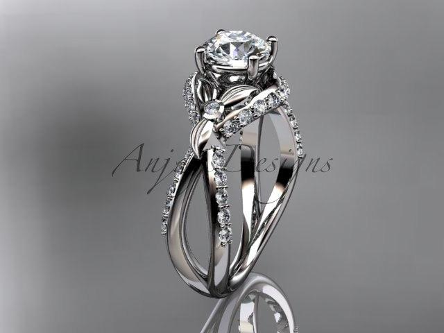 Свадьба - Unique platinum diamond flower, leaf and vine wedding ring, engagement ring ADLR218