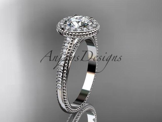 Wedding - 14kt white gold diamond unique engagement ring, wedding ring ADER104