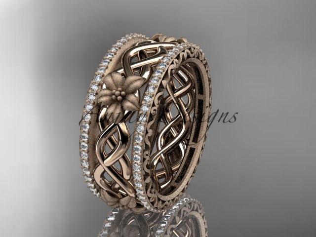 Mariage - 14k  rose gold diamond flower wedding ring, engagement ring ADLR260