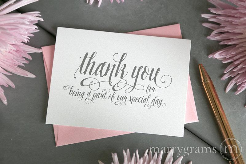 Hochzeit - Wedding Thank You Note Card Set -Misc. Thank You for Being a Part of Our Special Day Vendor, Florist, Caterer, DJ, Venue etc (Set of 5) CS12