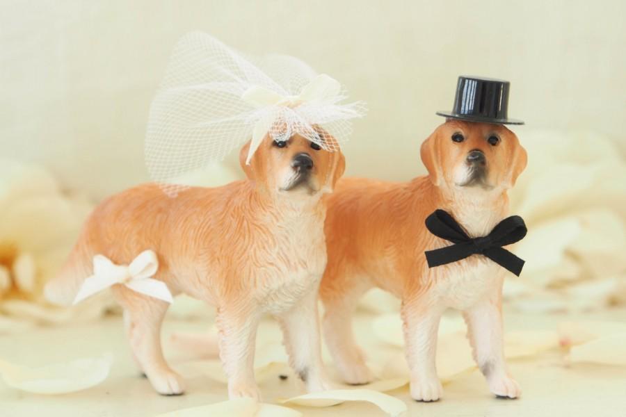 زفاف - Dog Cake Topper Wedding, Bride & Groom, Animal Lover, Pet, Golden Retriever, Unique