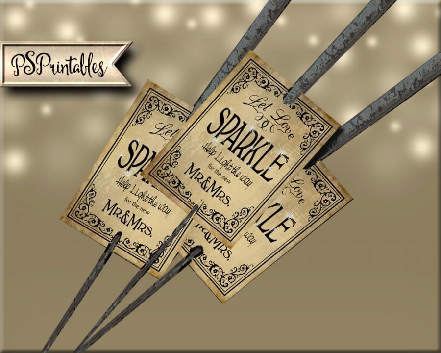 Свадьба - Let Love Sparkle Vintage style DIY Wedding Sparkler tags - Black Tie Collection - instant download and print