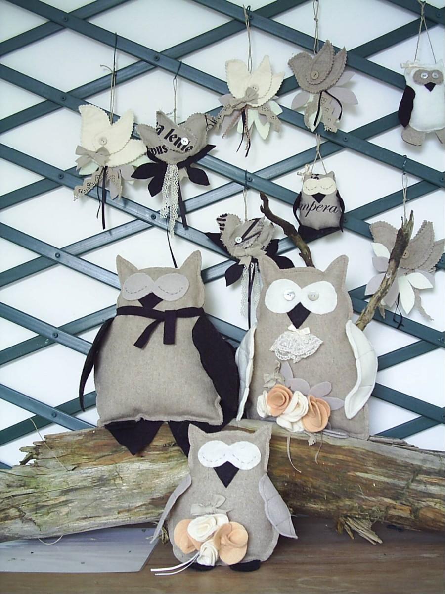 Wedding - Three felt owls for wedding centrepiece,woodland bird,plushie owl,ornament,childs toy,taupe,home decor,wedding,felt owl,HANDMADE BY FRALINE