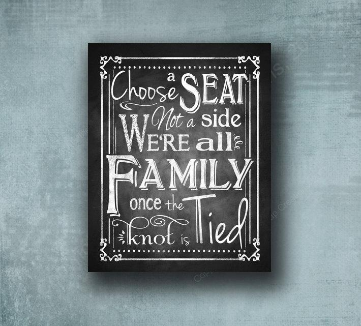 Hochzeit - Choose a seat not a side, printed chalkboard wedding sign, rustic sign, chalkboard sign, seating sign, wedding poster, wedding aisle sign