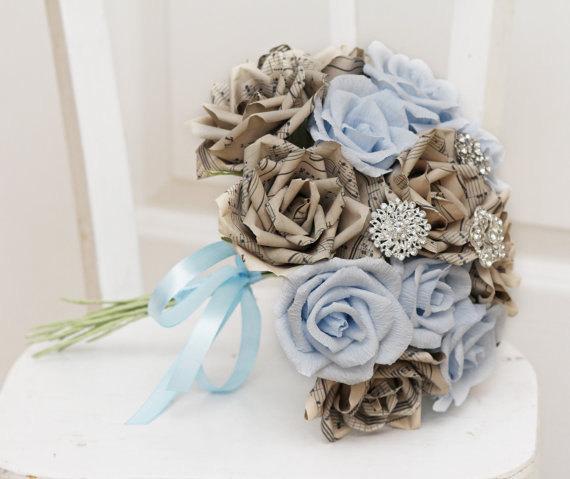 Mariage - brooch bouquet, wedding bouquet, bridal bouquet, bridesmaids bouquet, paper flower bouquet, music paper bouquet, alternative bouquet