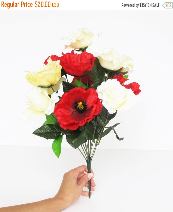 "Mariage - SALE 12 Silk Flowers Bouquet Red Yellow Creamy Poppies Roses Artificial Poppy Anemones 17.7"" Branch Bush Flower Wedding Bouquets Decoration"