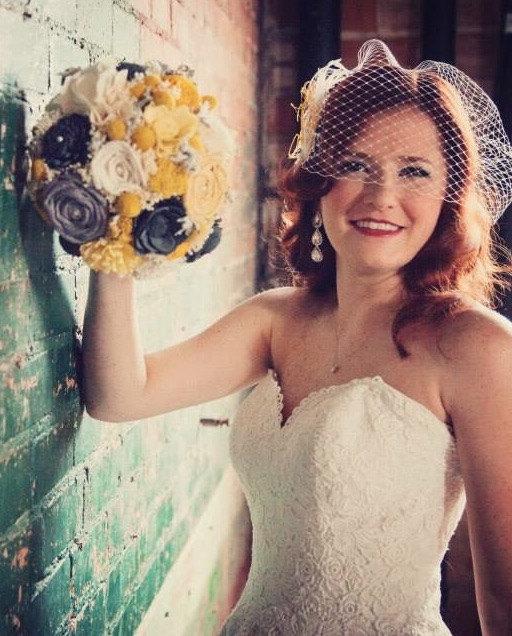 Mariage - Wedding Bouquet,Yellow, Mustard, Gray Sola Flower Bridal Bouquet,  Bridal Bouquet, Keepsake Bridal Bouquet, Rustic Bridal Bouquet