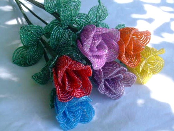 Mariage - Rose bud - french beaded flower