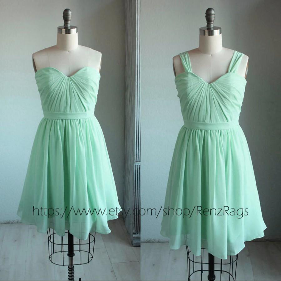 2016 mint bridesmaid dress teal pleated graduation dress short 2016 mint bridesmaid dress teal pleated graduation dress short prom dress chiffon formal dress a line removable strap knee length b060 ombrellifo Images